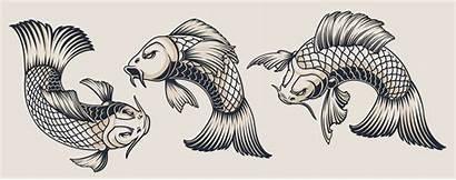 Carp Koi Illustrations Vector Japanese Tattoo Clipart