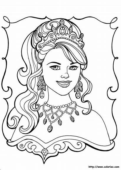 Princesse Coloriage Portrait Parure Magnifique Diamants Elle