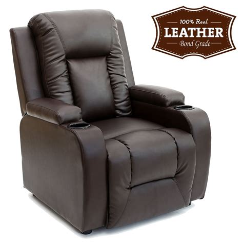 oscar leather recliner w drink holders armchair sofa chair