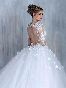 elegant long sleeve white 2018 wedding dress tulle ball With robe de mariée dentelle avec parure mariage pas cher