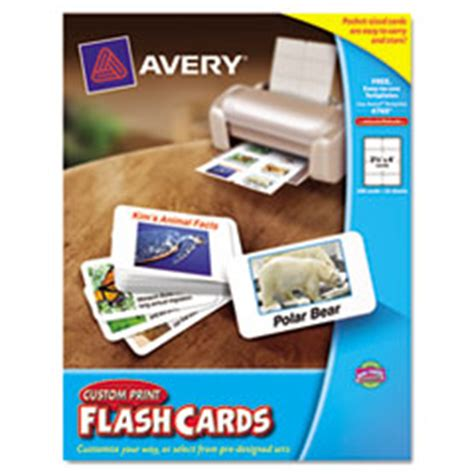avery  printable flash cards     white