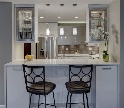 large kitchen island with seating and storage contemporary chic condo kitchen drury design