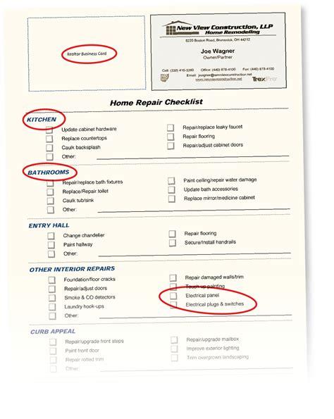 home repair checklist  remodeler  foot   door