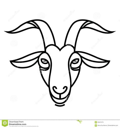 linear stylized drawing goats head stock vector