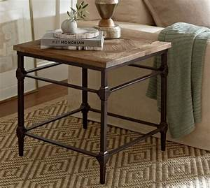 parquet reclaimed wood side table pottery barn With reclaimed wood coffee table and end tables
