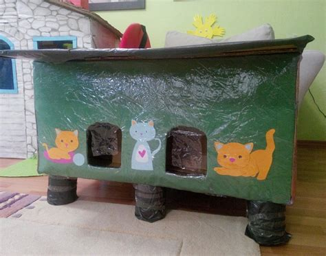 cat house cardboard cat housedoll house