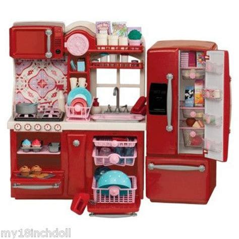18 inch doll kitchen furniture red kitchen furniture made to fit 18 inch american girl doll 96 piece