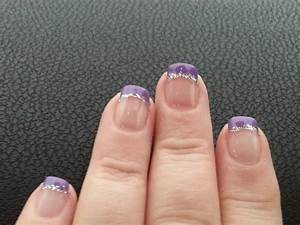 Purple french manicure with silver glitter.   My Nails ...