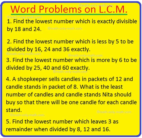 word problems  lcm lcm word problems questions