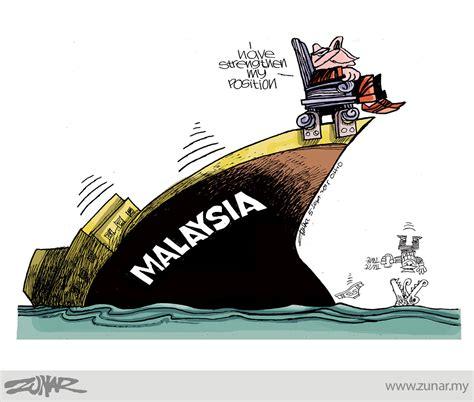Cartoon Boat Sinking by Sinking Ship Zunar Cartoonist