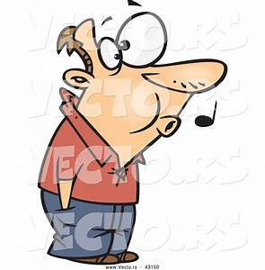 Vector of a Whistling Cartoon Man Patiently Waiting with ...