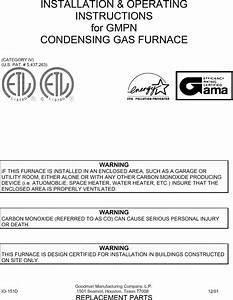 Goodman Gmpn040 3 User Manual Gas Furnace Manuals And