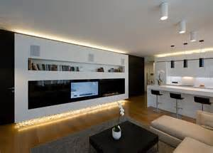 wohnzimmer fernsehwand contemporary modern apartment interior design with minimalist living room and monochromatic