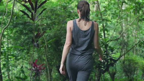 Girl Walk In Tropic Garden Indonesia Bali Jungle Stock Footage Video 4401434 Shutterstock