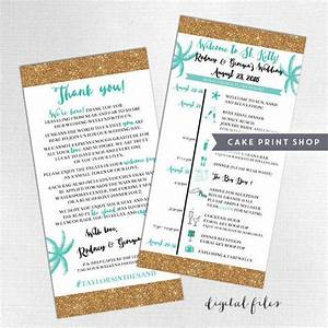 printable wedding itinerary and welcome bag note With destination wedding invitations itinerary