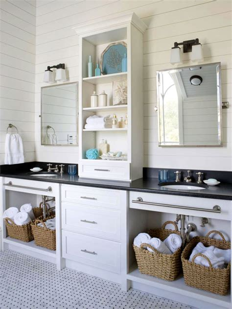double vanity  center tower cottage bathroom bhg