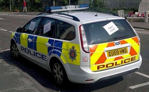 Police Car Parked As A Crime Deterrent Targeted By Vandals