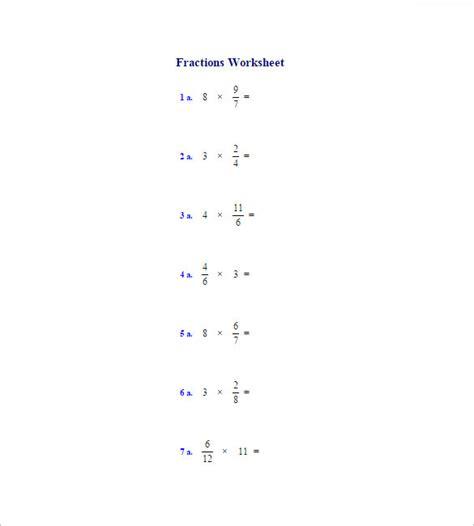 multiplying fractions worksheet templates