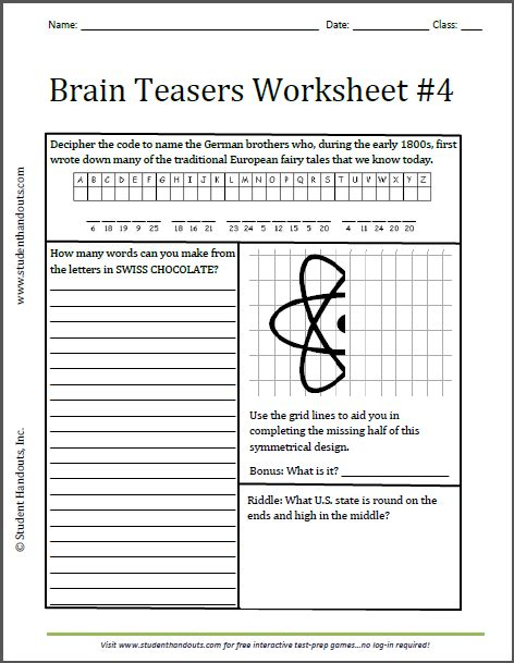brain teasers worksheet 4 free to print grades 3 and