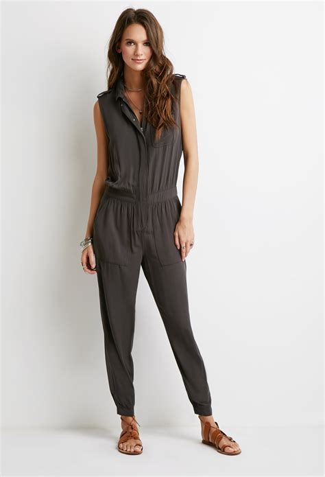 jumpsuit forever 21 forever 21 utility jumpsuit in gray lyst