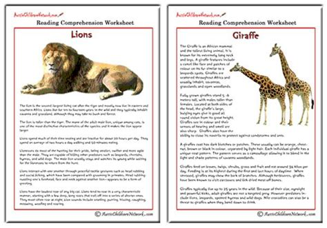 comprehension sheets  animals aussie childcare network