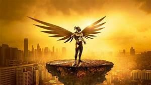 Desktop wallpaper fantasy, angel, golden, cityscape, digital art, hd image, picture, background ...