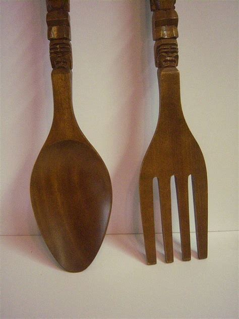 Wooden Fork And Spoon Wall Decor Large by Big Wooden Fork And Spoon Monkey Pod Carved Wooden Spoon