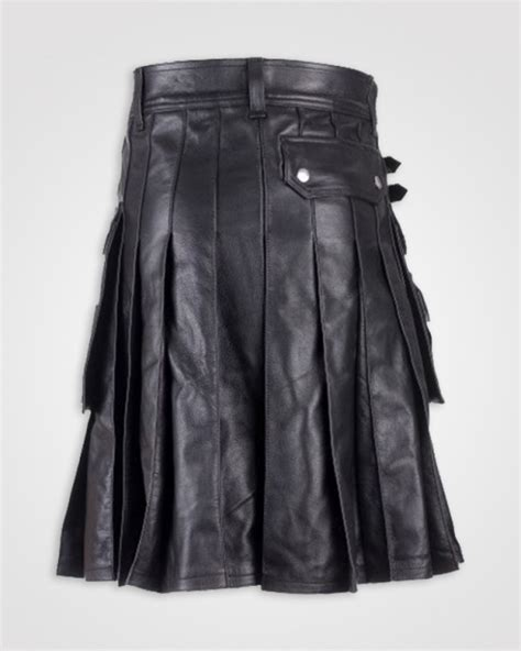 dkilts modern black leather utility kilt leather kilts