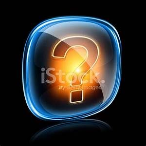 Help Icon Neon Isolated on Black Background stock photos