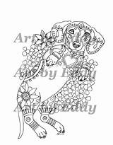 Coloring Dachshund Pages Adult Dog Mandala Volume Etsy Colouring Version Rub Single Sheets Weiner Downloadable Dachshunds Books Dogs Belly Tattoo sketch template