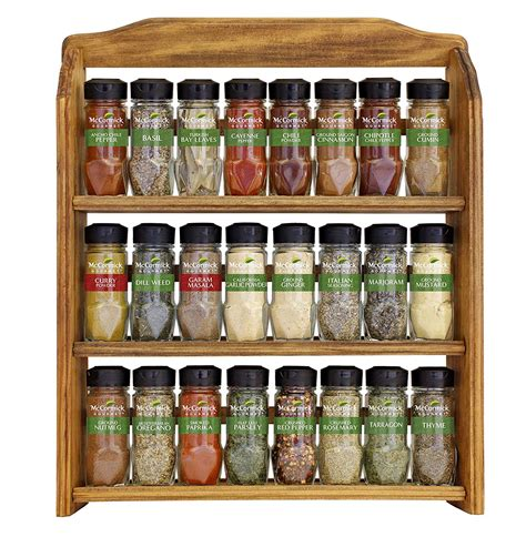 spice rack three tier wood rack 24 mccormick gourmet spice count new