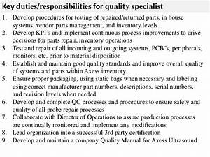 Quality Specialist Job Description