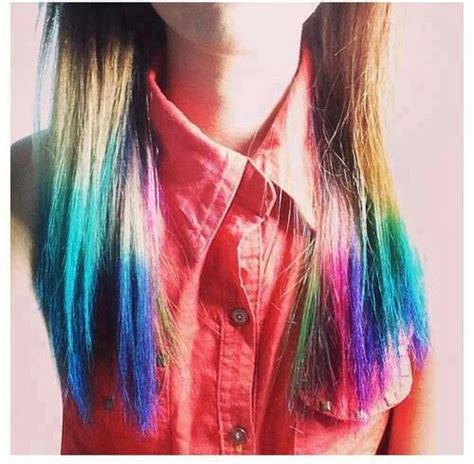 Rainbow Tips Hair Hair ♡ Pinterest