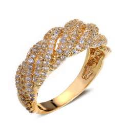 cz engagement rings that look real dc1989 new woven look cocktail cz rings real gold platinum plated wedding statement ring