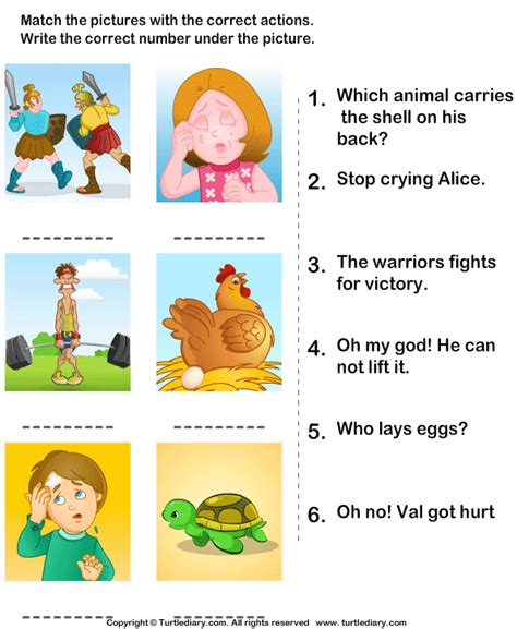 match pictures with correct actions worksheet turtle diary