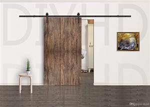 2017 5 8ft modern rustic black arrow wheel sliding barn With discount barn doors