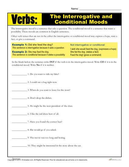 the interrogative and conditional mood verb worksheet