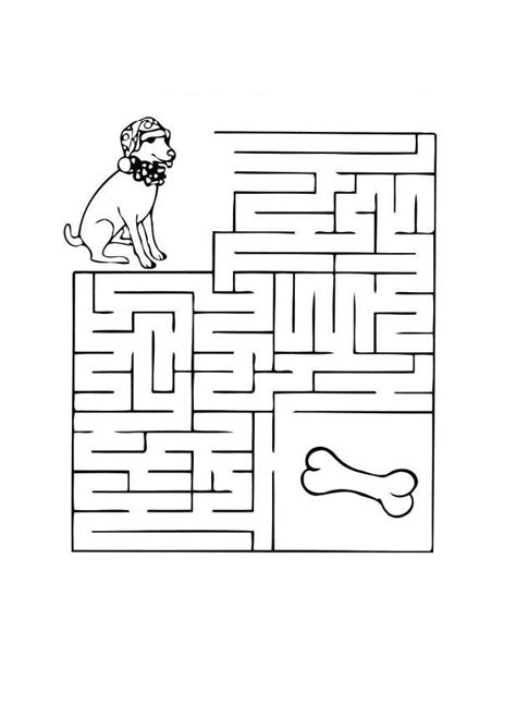 coloring page dog maze  printable coloring pages