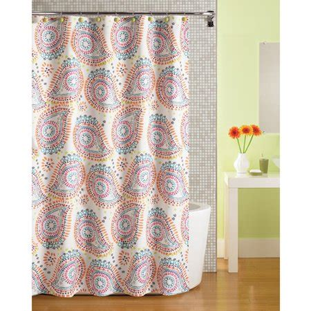 fabric shower curtains walmart mainstays print paisley fabric shower curtain walmart