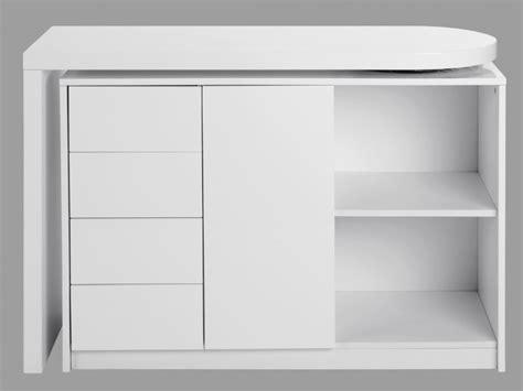 plateau cuisine design bureau extensible pavel 4 tiroirs 1 porte laqué blanc