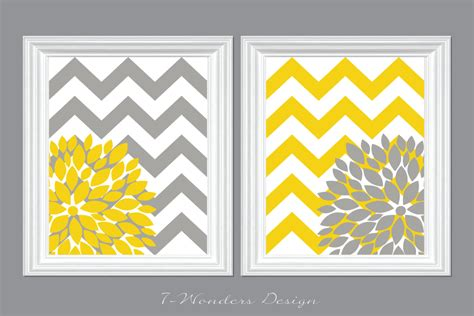 yellow and gray chevron bathroom ideas flower bursts with chevron zig zags modern home wall set