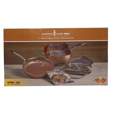copper chef pro  piece heavy duty cookware set