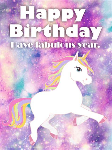 galaxy unicorn happy birthday card birthday greeting