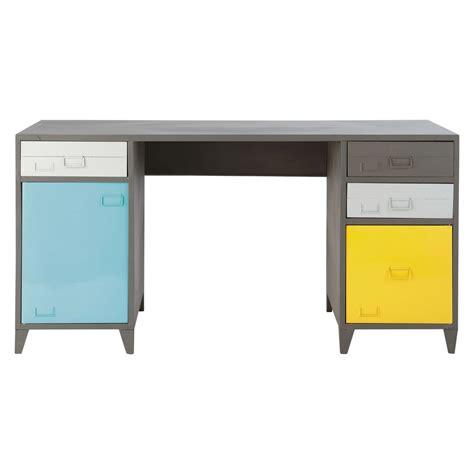bureau metal gris bureau indus en métal gris l 150 cm espace maisons du monde