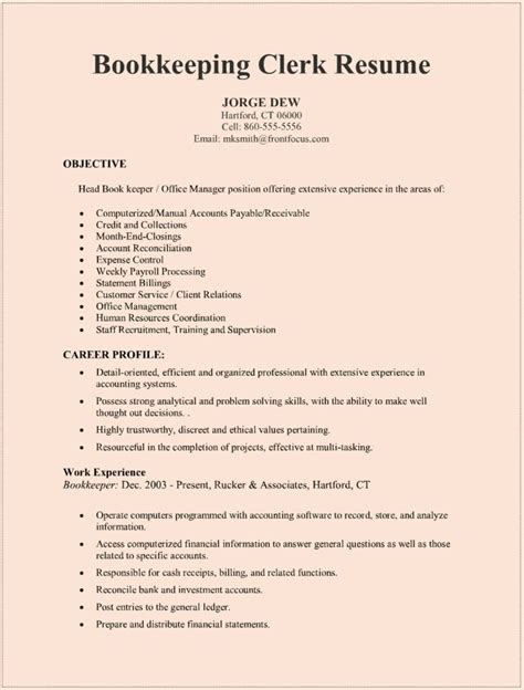 Resume Sles Tips by Bookkeeping Resumes Sles Printable Resume Resume Badak