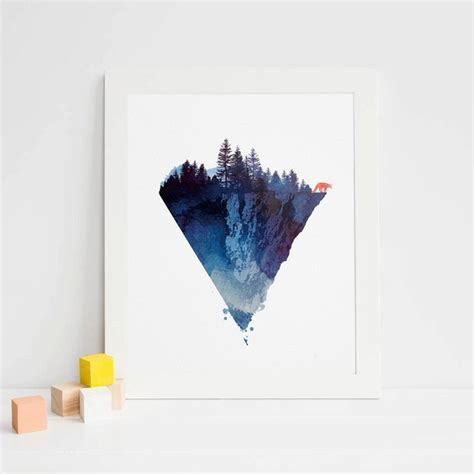 mountain watercolor fine art paper wolf painting forest