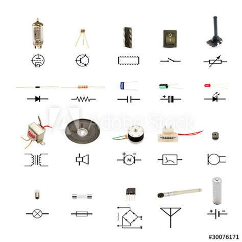 Electronic Components With Circuit Schematic Symbols