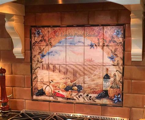 kitchen tile murals backsplash italian tile murals tuscany backsplash tiles 6275