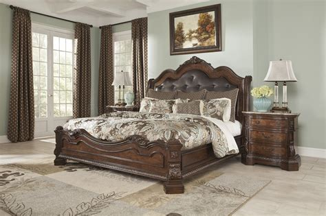 ledelle bedroom   brown finish  ashley furniture