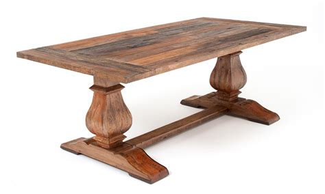 rustic trestle base table reclaimed wood tuscan old